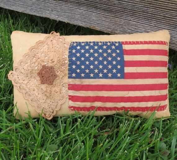 Primitive American Flag Pillow - Team USA