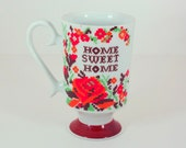Vintage Cross Stitch Home Sweet Home Pedestal Mug