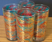 Set of 4 Vintage Cocktail Glasses // Metallic Swirl