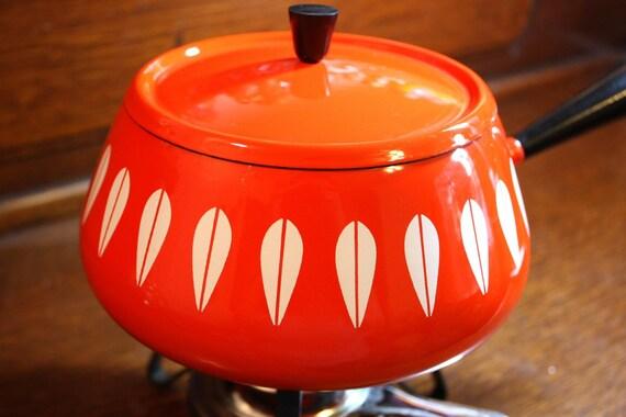 Vintage Cathrineholm Enamel Fondue Pot - Orange Lotus