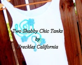 Bohemian Clothing.  . .Shabby Chic Tops ... Tank Tops ..Hippie... ..Set of Two. . .Funky, Unique by Freckles California