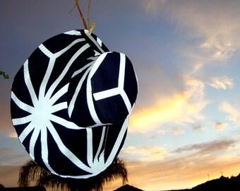 Black and White Sun Hat Wide Brim Summer Wedding Sun Hat  By Freckles California