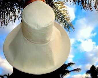 Cream Wide Brim Sun Hat Linen Sun Hat Elegant Wide Brim Wedding hat Freckles California
