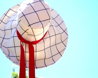 4th of July Sun Hat Red, White, and Blue wide brim sun hat Nautical Style, eco friendly..4th of July by Freckles California