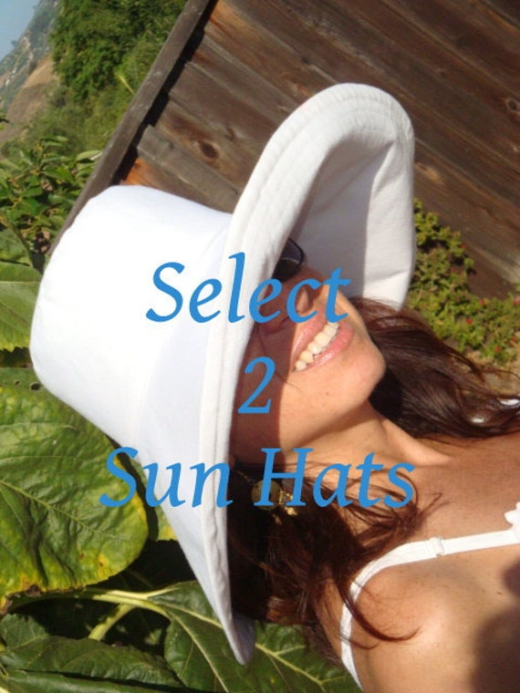 Sun Hats . . . Select Two Wide Brim Sun Hats . . .White, Black, Pink, Turquoise OR Tan  by Freckles California