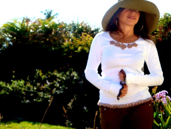 Bohemian Clothing..Shirt with Crochet designs... Shabby Chic ..Hippie Boho..by Freckles California OOAK