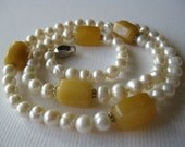Pearls and Gold Chalcedony Necklace