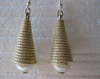 Vintage Pearl and Wrapped Chain Dangle Earrings