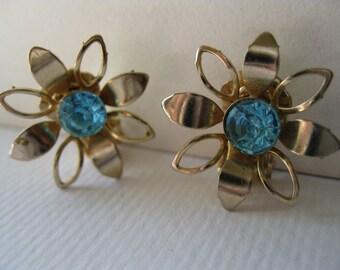Vintage Aquamarine  Flower Power Clip Earrings