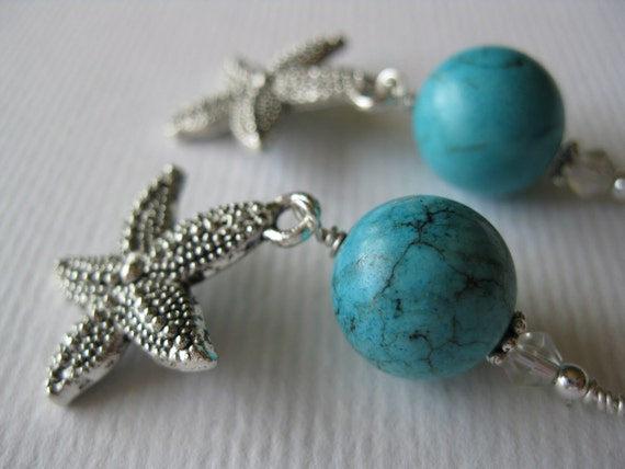 Turquoise and Starfish Dangle Earrings