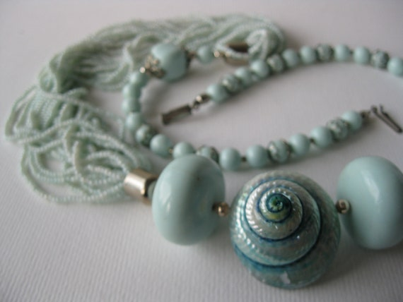 Vintage Sea Foam Green Beads and Shell Asynetrical Necklace