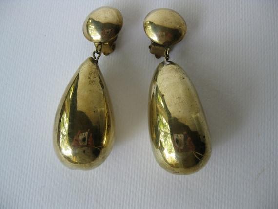 Vintage Gigantic Handmade Brass Teardrop Clip Earrings