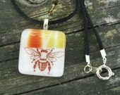 Bumble Bee in Amber and Red: Fused Glass Necklace