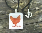 Farm House Chicken in Grey and White: Fused Glass Pendant