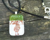 Baby Chick in Olive Green: Decorative pattern Fused Glass Necklace