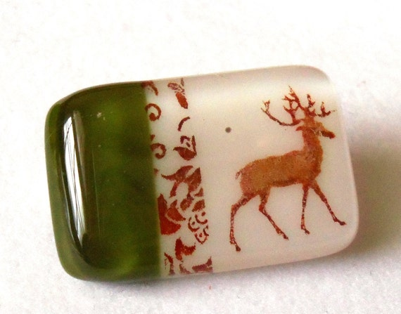 Whimsical Fused Glass Brooch, Olive Green and White