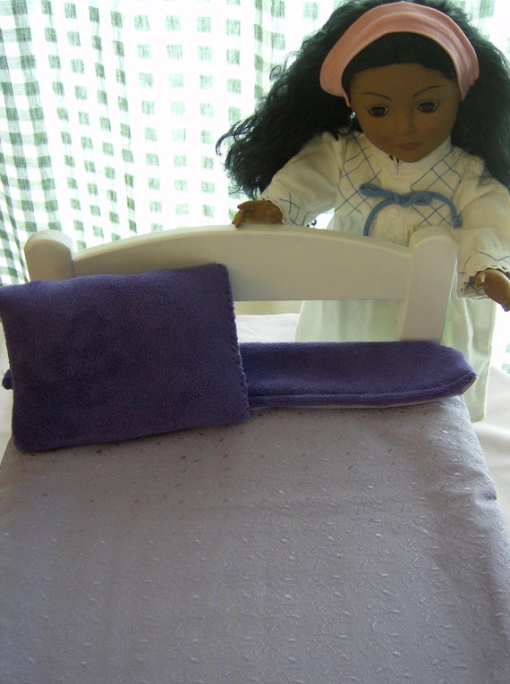 SALE American Girl Doll Blanket and Pillow Set, REVERSIBLE, Purple