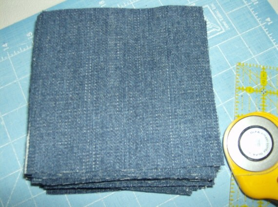 Blue Denim 36 Quilt or Craft Squares, 5 inch, rotary cut
