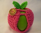 Handmade Crocheted Apple Cozy - Crochet Apple Cozy  In Hot Pink