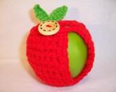Handmade Crocheted Apple - Crochet Apple Cozy Cozy in Hot Red Color