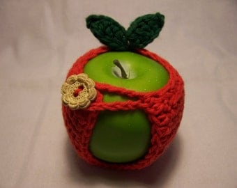 Handmade Crocheted Apple Cozy - Crochet Apple Cozy  in  Classic Red Color