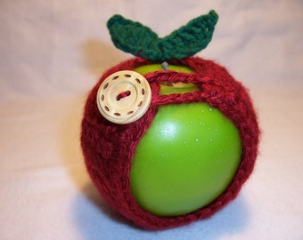 Handmade Crocheted Apple Cozy - Crochet Apple Cozy  in  Autumn Red Color
