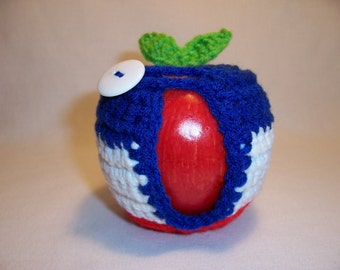 Handmade Crocheted Apple Cozy  in Patriotic Colors