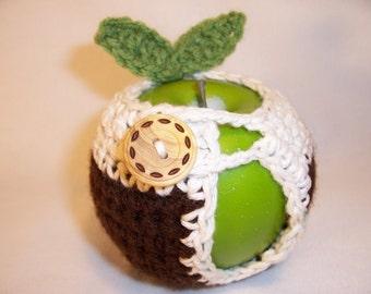 Handmade Crocheted Apple Cozy - Crochet Apple Cozy in Coffee Color with Ecru Trim