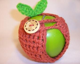Handmade Crocheted Apple Cozy - Crochet Apple Cozy in Paprika Color