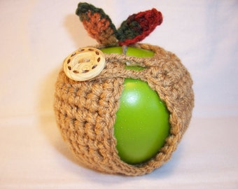 Handmade Crocheted Apple Cozy - Crochet Apple Cozy in Warm Brown with Fall Color Leaves