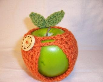 Handmade Crocheted Apple Cozy - Crochet Apple Cozy in Carrot Color