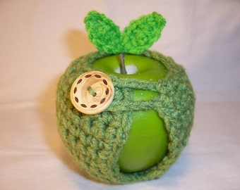 Handmade Crocheted Apple Cozy - Crochet Apple Cozy in Tea Leaf Color