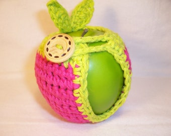 Handmade Crocheted Apple Cozy - Crochet Apple Cozy in Pink with Lime Trim