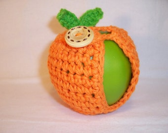 Handmade Crocheted Apple Cozy - Crochet Apple Cozy in Orange with Green Leaves