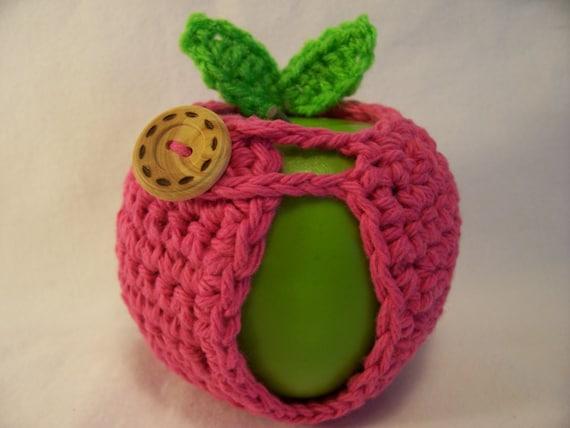 Handmade Crocheted Apple Cozy - Crochet Apple Cozy  In Hot Pink