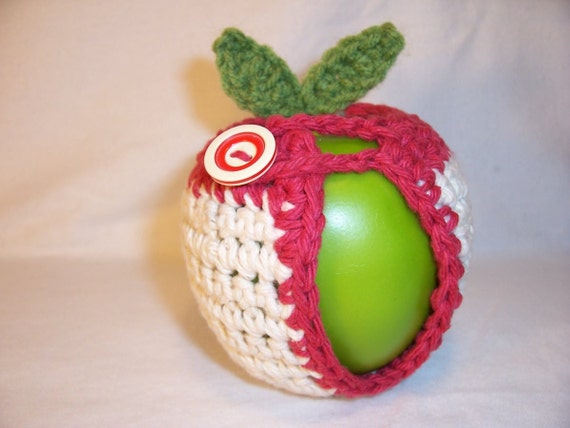 Handmade Crocheted Apple Cozy in Ecru Color with Country Red Trim with Retro Look Button