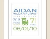 Digital Printable Custom Birth Announcement Print for Boy