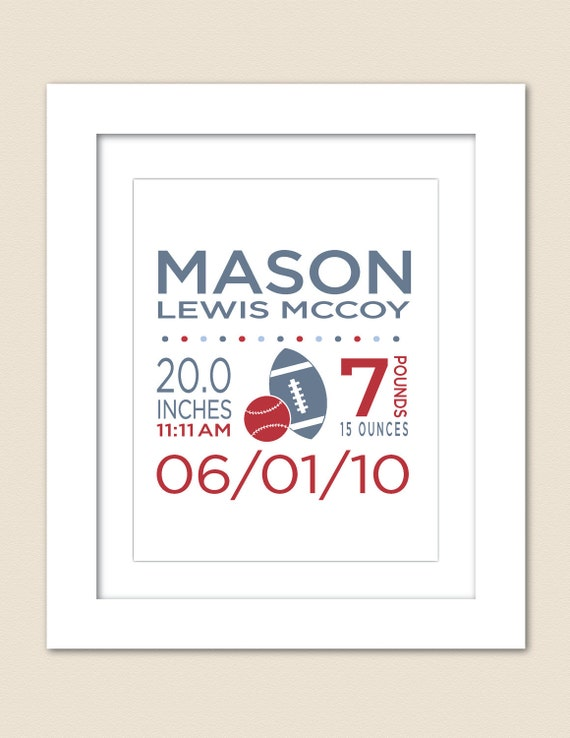 Digital Printable Custom Sports Birth Announcement Wall Print