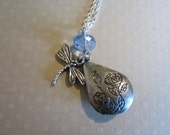 Sea Blue Dragonfly Antique Silver Necklace