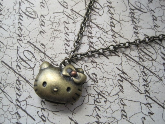 Antique Brass Hello Kitty Locket Necklace