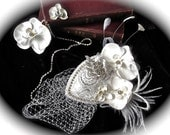 White Orchid Beauty Bling Fascinator- RESERVED for Barbie Hill- Special Order-Marie Antoinette Theme