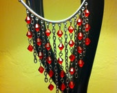 Silver and Red Swarovski Crystal Dangle Necklace