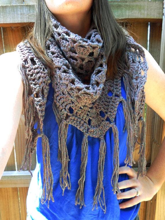 Crochet Fringe Shawl - Triangle Scarf