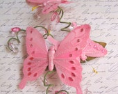 Fly Away with Me Pink Sparkle Butterfly Barrette - fuchsia, garden, girl's headband, woodland