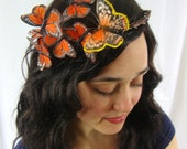 Orange Monarch Butterfly Fairy Crown - princess, woodland, forest