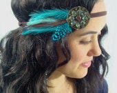 Turquoise Beaded Bohemian Feather Native Headband - gypsy, teal, rustic, hippie, warrior, blue