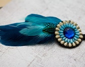 Blue Moon Beaded Bohemian Feather Headband - gypsy, hippie, warrior, black, blue, teal, turquoise