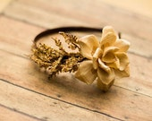 Yellow Floral Wood Rose Headband - flowers, woodland, forest