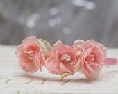 Pink Flower Pearl Center Headband - neesiedesigns