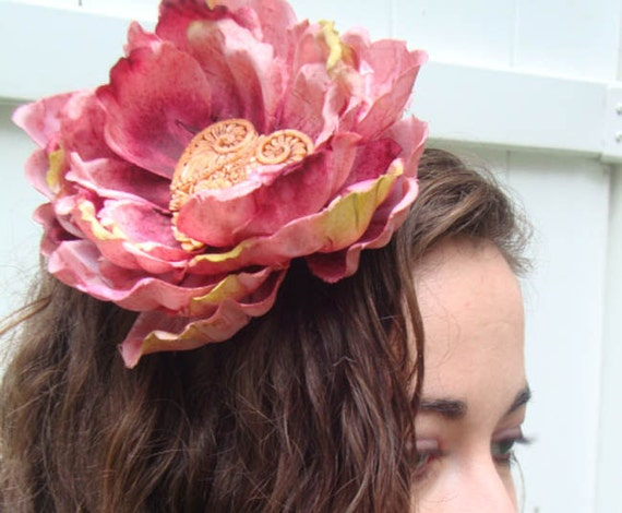 Large Pink Flower Headband with Decorative Heart
